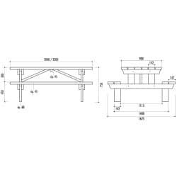 Table pique nique PMR en bois Hanovre - Epaisseur bois 45 mm